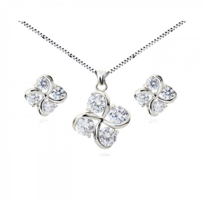 Set argint lant, pandantiv si cercei cu elemente swarovski 4 drops mov