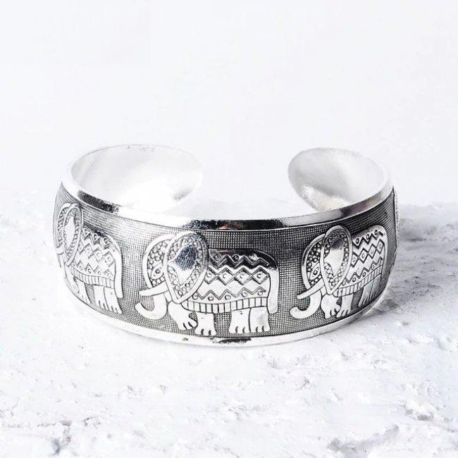 Bratara placata cu argint antic bohemia elephant