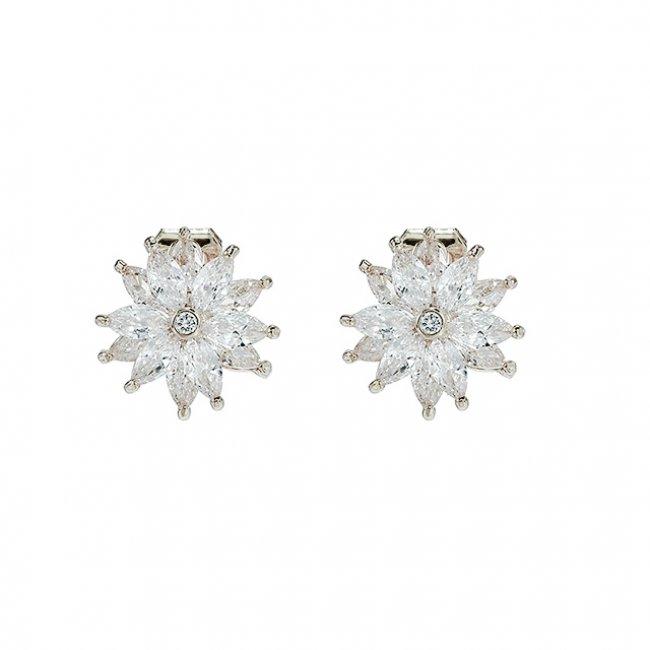 Cercei clips  argint si elemete SW floare de cristal