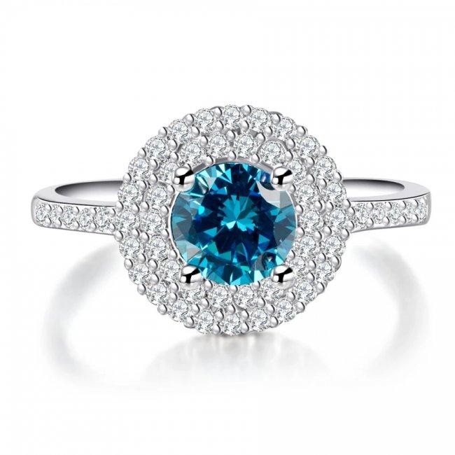 Inel argint cu  elemente  Swarovski Crystal Blue Elegance