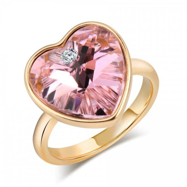 Inel argint placat cu aru 14K si elemente SW Big Pink Heart