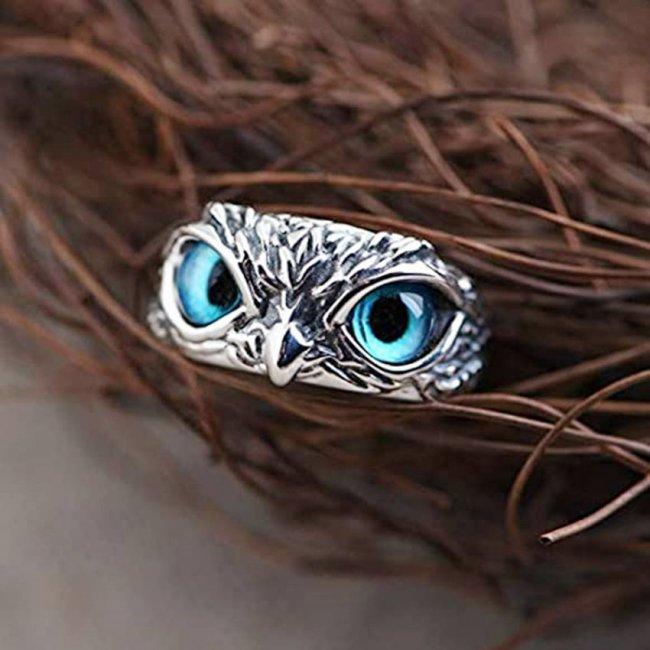 Inel femei reglabil Ochi de Bufnita Blue