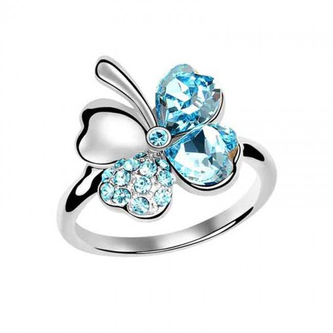 Inel reglabil argint placat cu aur alb Trifoi Aquamarine