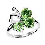 Inel reglabil argint placat cu aur alb Trifoi Emerald