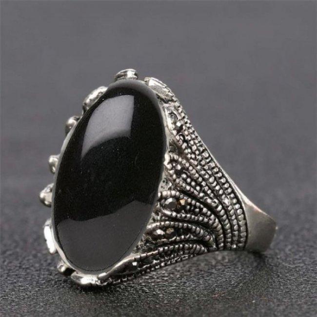 Inel argint marcasite cu piatra sidef negru