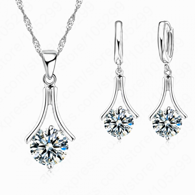 Set argint lant cercei inel cu elemente swarovski Water Drops
