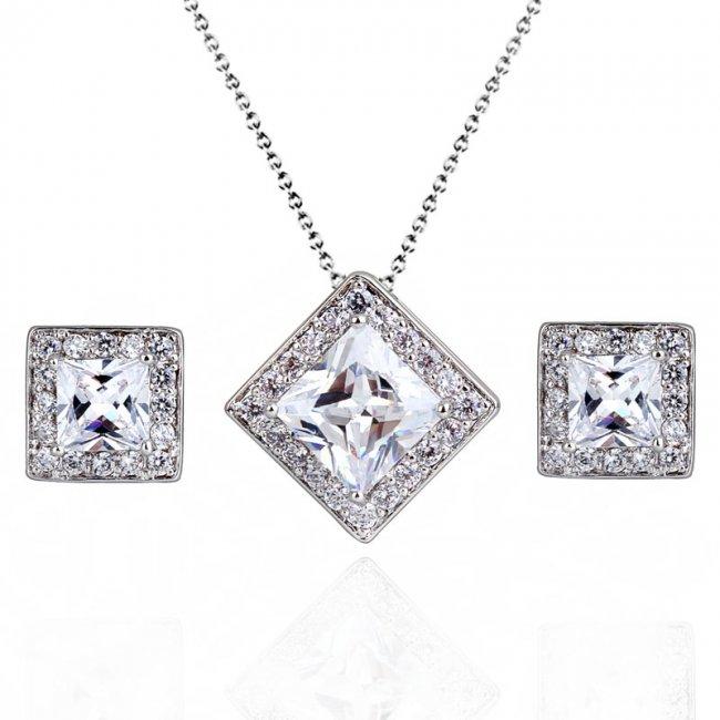 Set argint lant, pandantiv si cercei cu elemente swarovski White Pure