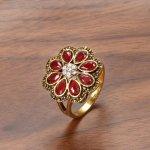 Set argint vintage cercei cu inel gold si Jad rosu