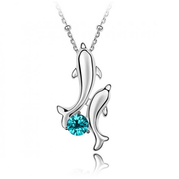 Colier Swarovski Blue Delfin