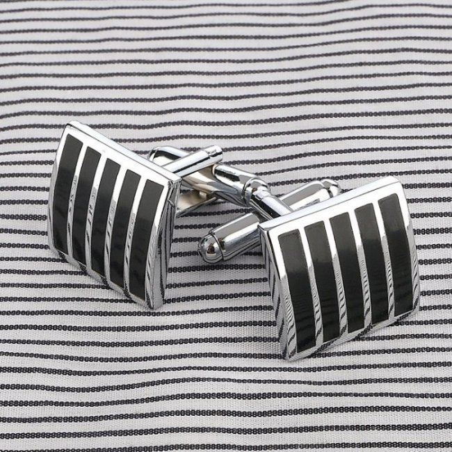 Black Lines stainless steel men's buttons