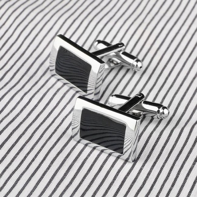 Black Square men's stainless steel buttons