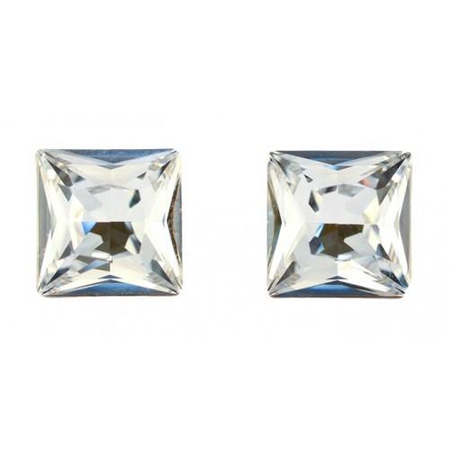 Cercei Argint 925 cu ELEMENTE SWAROVSKI® Xilion Square 10mm Crystal Clear