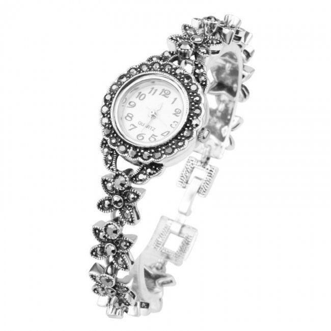 Women's watch with Flower marcasite