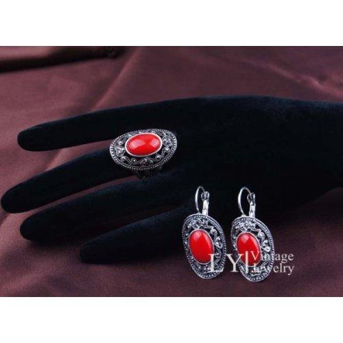 Set argint cercei cu inel Bohemian