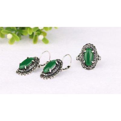 Set argint cercei cu inel smarald Drop