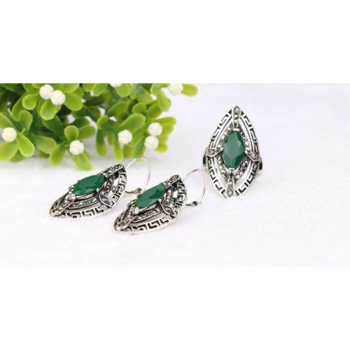 Set argint cercei cu inel smarald Emotion