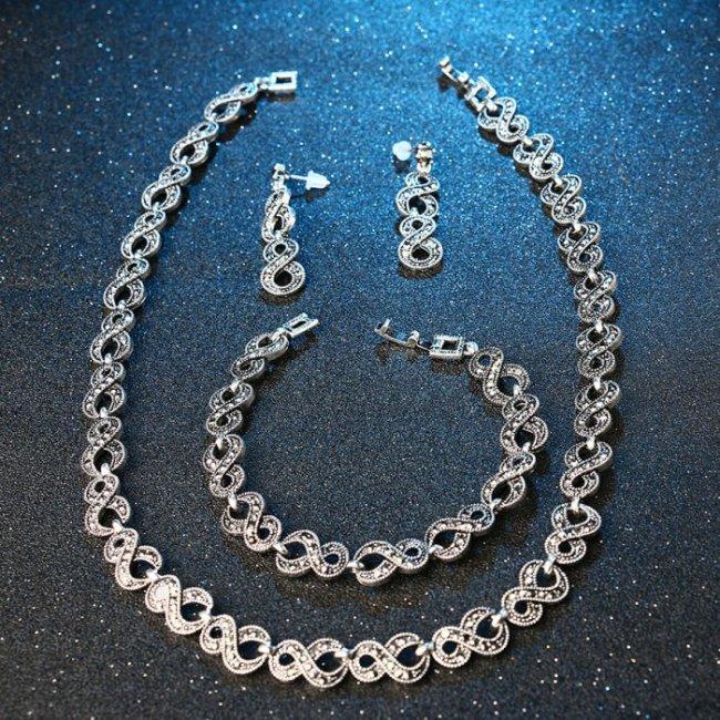 Set argint femei cu marcasit Neverending