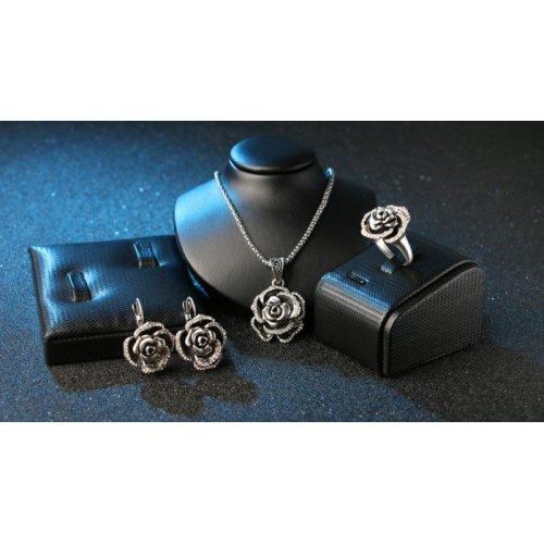 Set argint cercei colier si inel model Floare