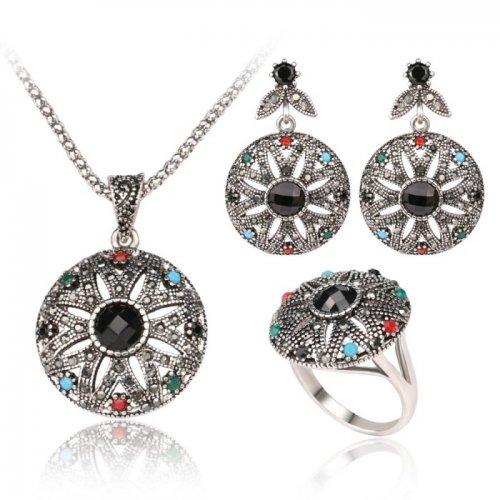 Set argint marcasite cu turcoaz, coral si smarald