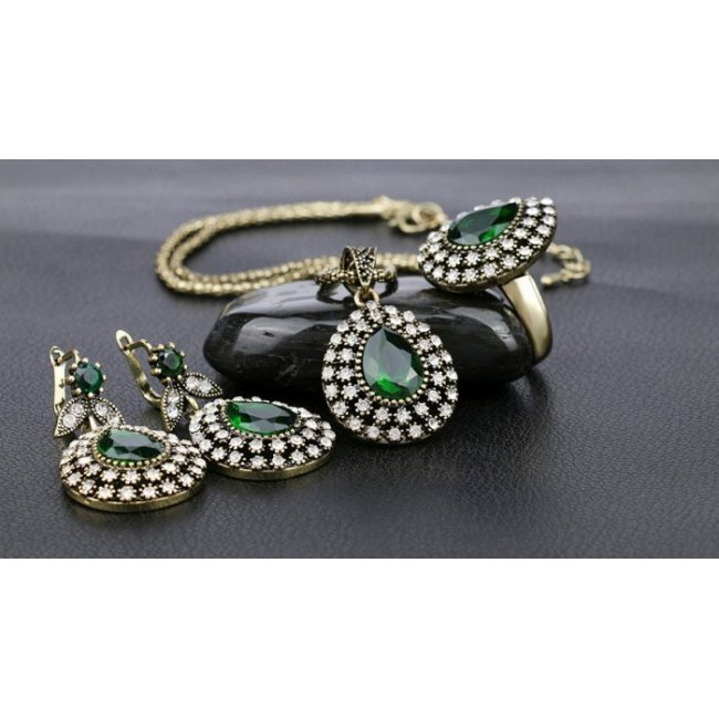 Women's bronze set with green zircon plated with yellow gold