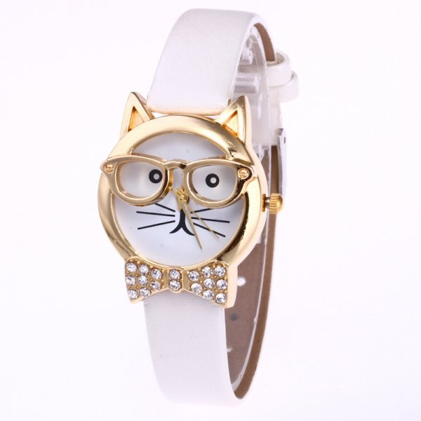 Ceas cu pisica cu ochelari si papion aurit Gold Cat cu curea alba