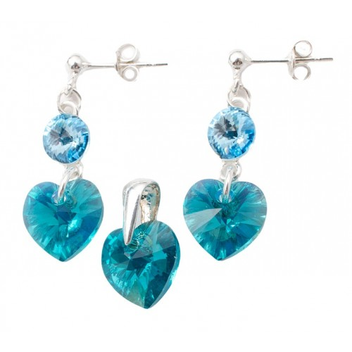 Set Argint 925 cu ELEMENTE SWAROVSKI® Stud Clear Heart 10mm Blue Zircon AB