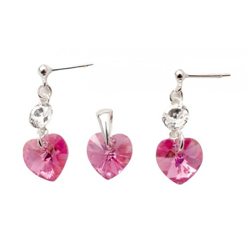 Set Argint 925 cu ELEMENTE SWAROVSKI® Stud Clear Heart 10mm Rose AB