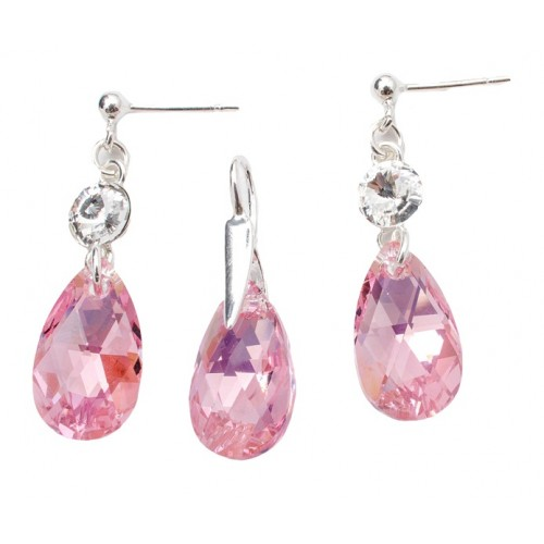 Set Argint 925 cu ELEMENTE SWAROVSKI® Stud Clear Pear 16mm Lt. Rose AB