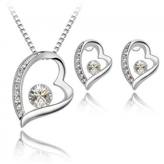 Set Elemente Swarovski Inima  Crystal White