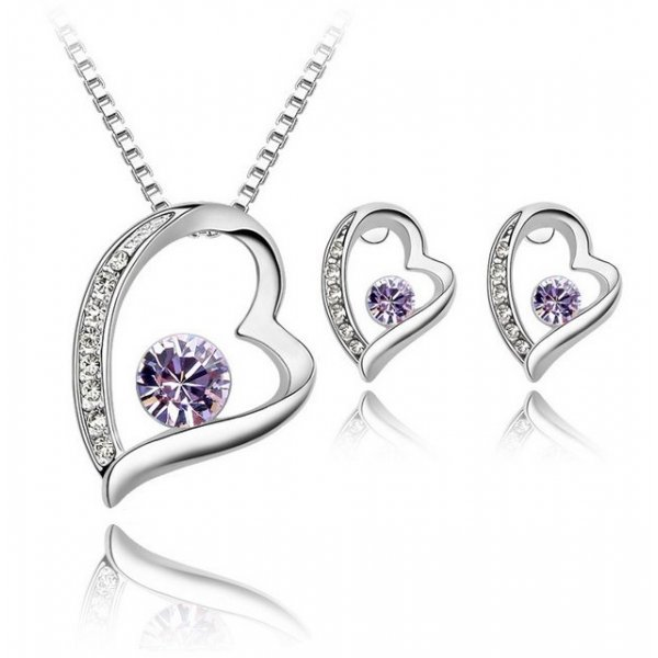 Set Elemente Swarovski Inima Purple Heart