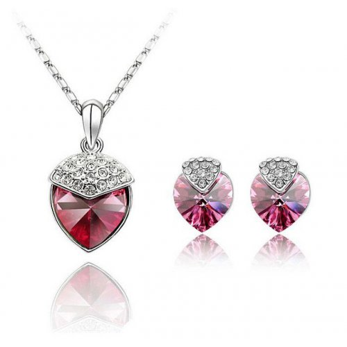 Set Elemente Swarovski Inima Red Passion