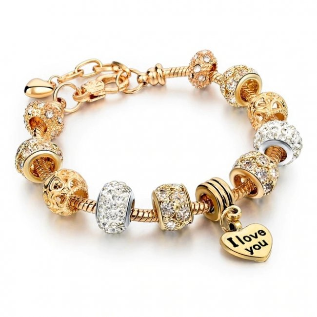 Pandora Charm bracelet plated with 14k Crystal Paradise gold