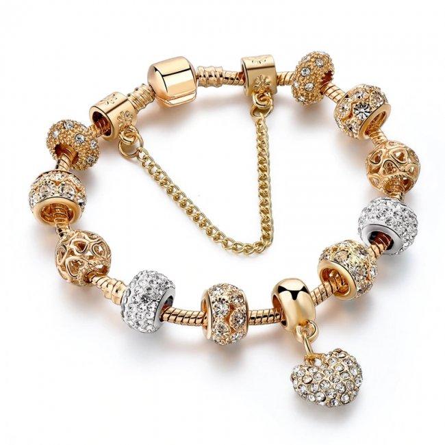 Pandora Gold Excelsior Heart Charm Bracelet