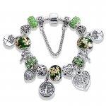 Bratara tip Pandora Copacul Vietii Inima Verde Emerald
