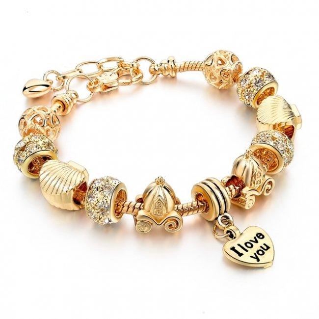 Pandora type bracelet plated with 14k gold charms Trasura Inima