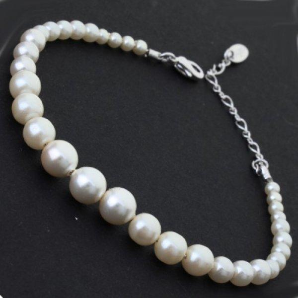 Bratara argint femei cu perle Princesa White
