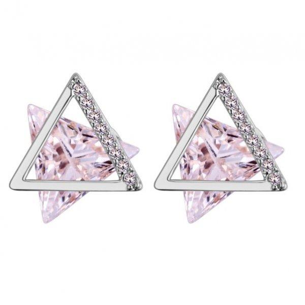 Cercei argint femei Pink Bermuda Triangle
