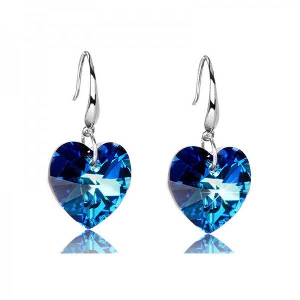 Cercei argint femei inima Ocean Love Crystal