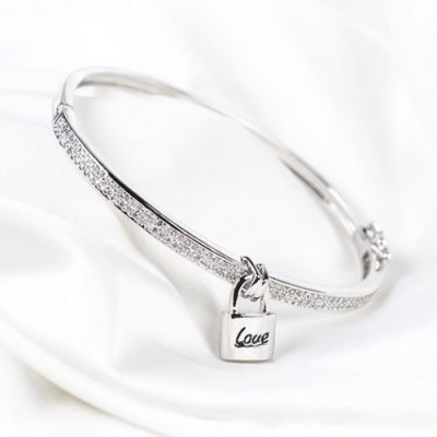 Bratara argint White Crystal cu lacat Love