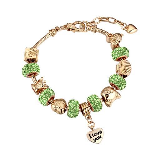Bratara Charm Pandora Green Kelan Love