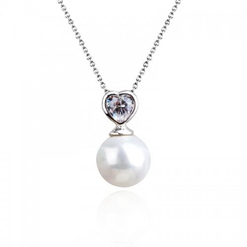 Lant argint femei cu pandantiv Heart Pearl