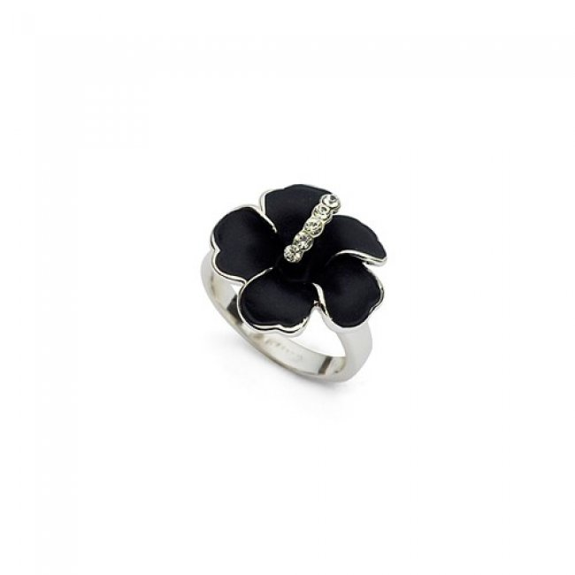 Silver ring with black Pansy swarovski elements