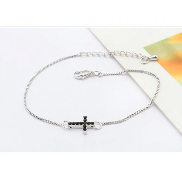 Bratara argint femei Crystals Cross