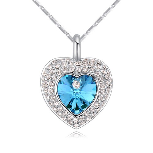 Lant argint femei cu pandantiv Blue Heart
