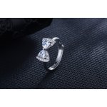 Adjustable silver Crystal Butterfly ring