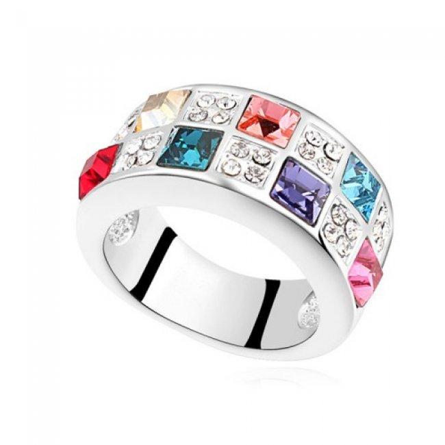 Silver ring with Swarovski Elements Multicolor