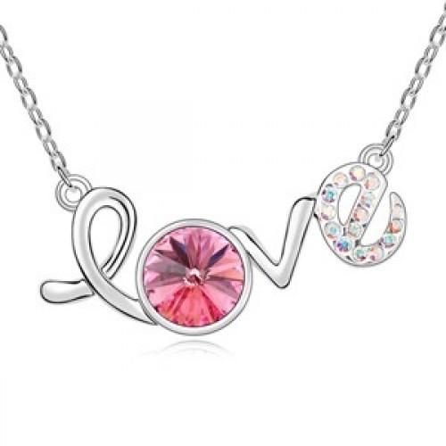 Lant argint femei cu pandantiv Love Rosu