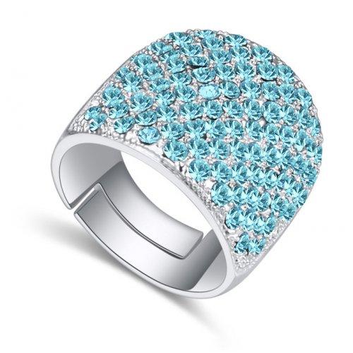 Inel argint reglabil Elemente Swarovski Aquamarine Spring
