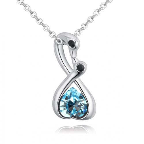 Lant din argint cu pandantiv Lebada cu Inima Element Swarovski Aquamarine