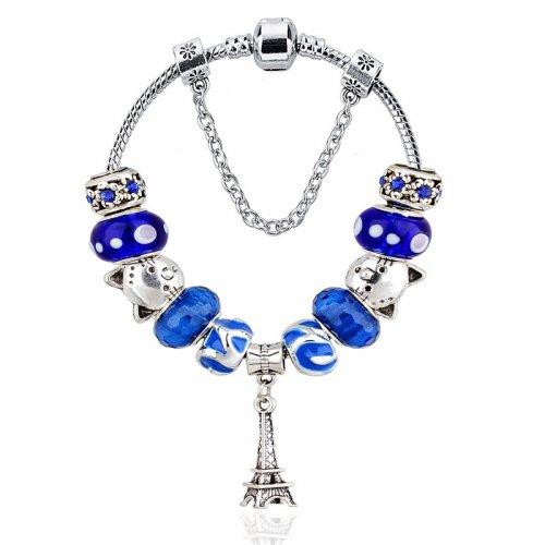 Bratara argint Pandora Charm Style Paris in Blue